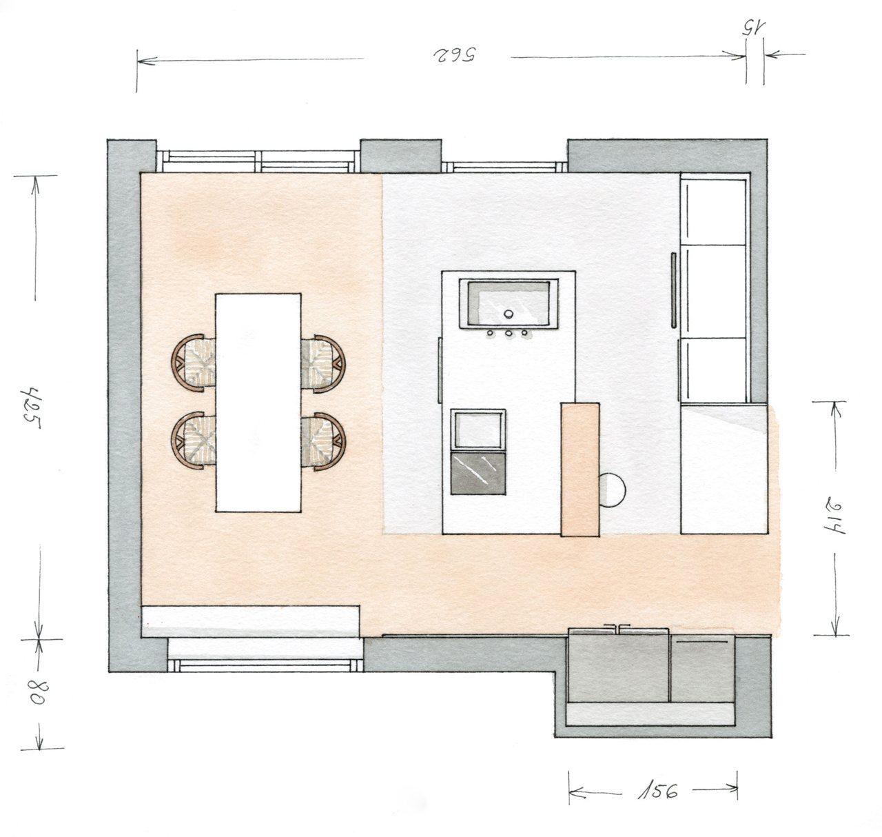 Decotips distribuir la cocina seg n su geometr a for Planos de cocinas 4x4