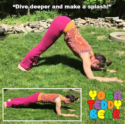 Yoga, yoga teddy bear, dolphin pose, plank pose, forearm plank pose, makarasana, ardha pincha mayurasana, yoga education, core strength, tricep strength, workout