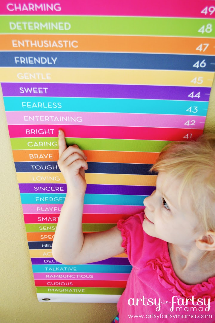 Petite Lemon Colorful Words Personalized Growth Chart via artsyfartsymama.com