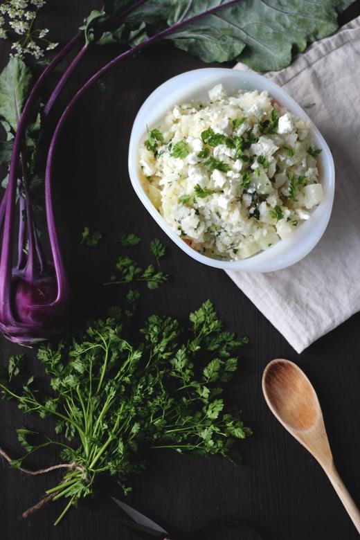 Ofenrisotto mit Kohlrabi, Feta und Kerbel, schnelles und einfaches Rezept. Holunderweg18