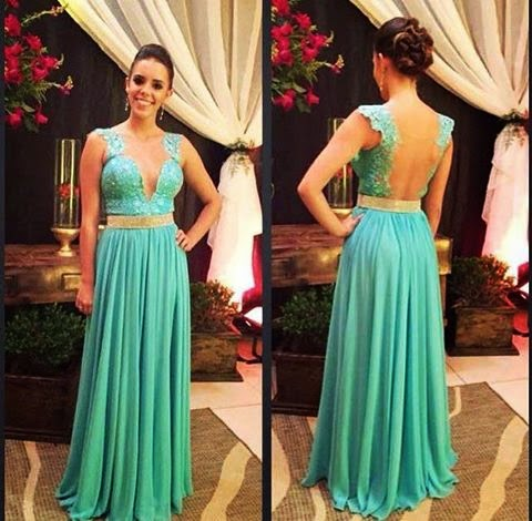d305cd887 Mi Mundo Español Por Rita Condor  Bello vestido elegante verde agua