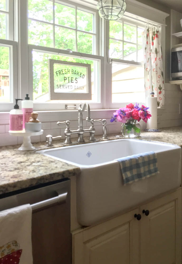 Famhouse sink in summer home tour