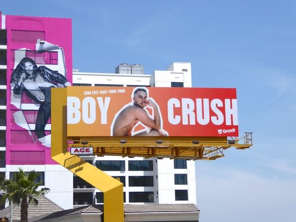 Boy crush Grindr app billboard