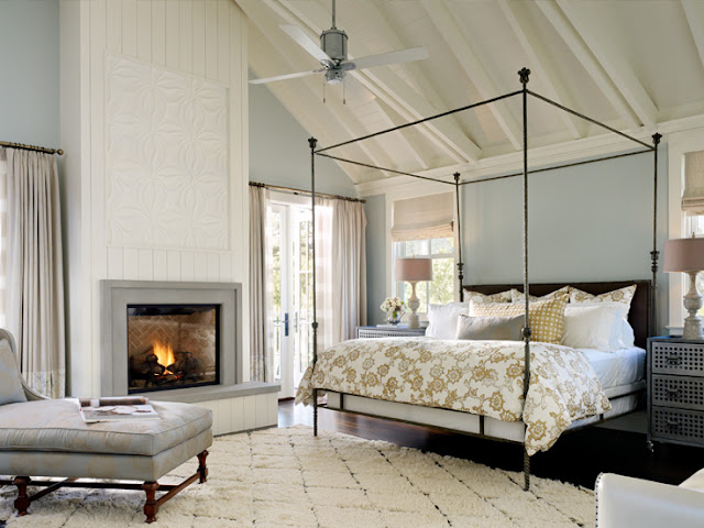 Beautiful serene blue gray bedroom in Napa Valley farmhouse by Ken Fulk in C Magazine