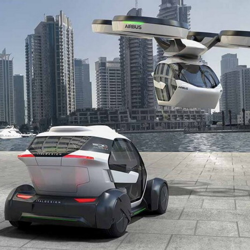 Tinuku Airbus and Italdesign designed Pop Up car applied to overland and air travel to urban landscape