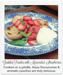 This delicious dessert sees the flavour and aroma of the peaches come alive when griddled.  It is served with mascerated strawberries and basil, three flavours which compliment one another well.