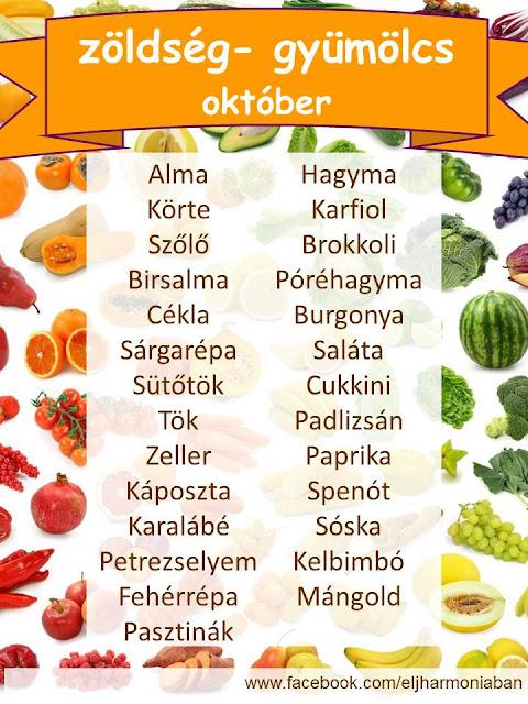 gyümölcs, idény, szezonális, zöldség, október