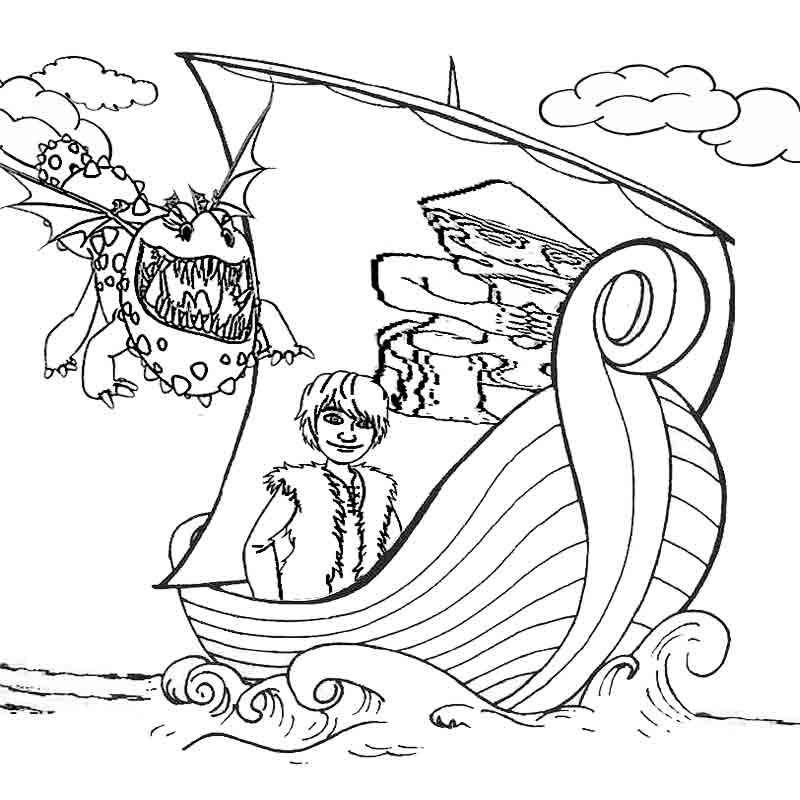 how to train your dragon coloring pages for kids to print vikings ship - Train Pictures Print Color