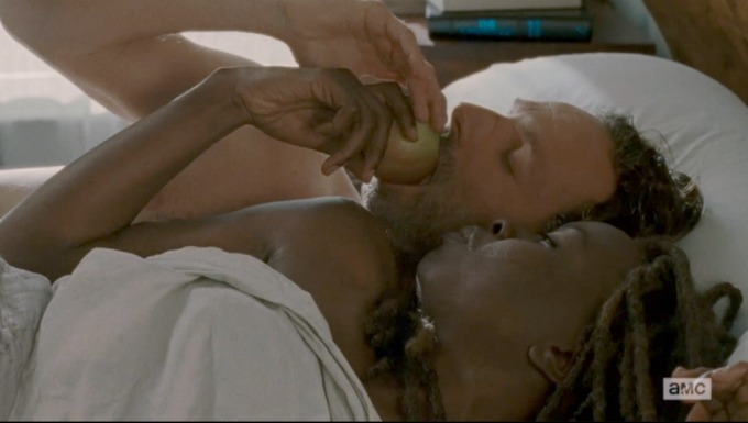 "Rick and Michonne eating their ""shag apple""."