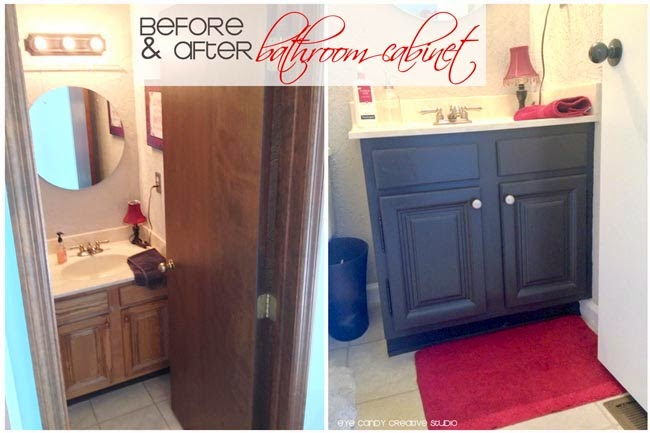 before & after pic of bathroom makeover, repainting cabinets in bathroom