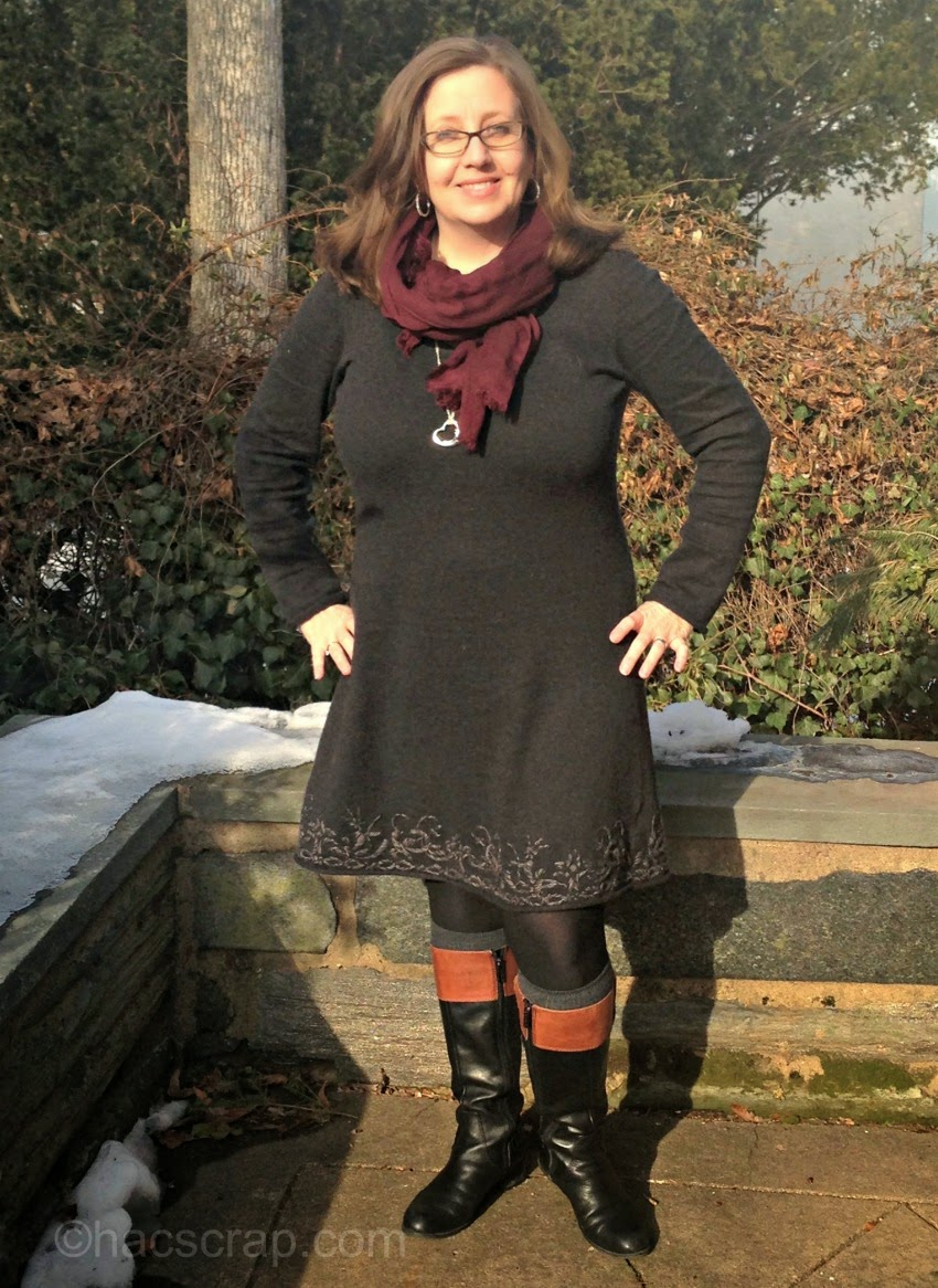 Everyday Style - Aventura Grey Dress with CLassic Riding Boots, Boot Socks and a Marsala Scarf