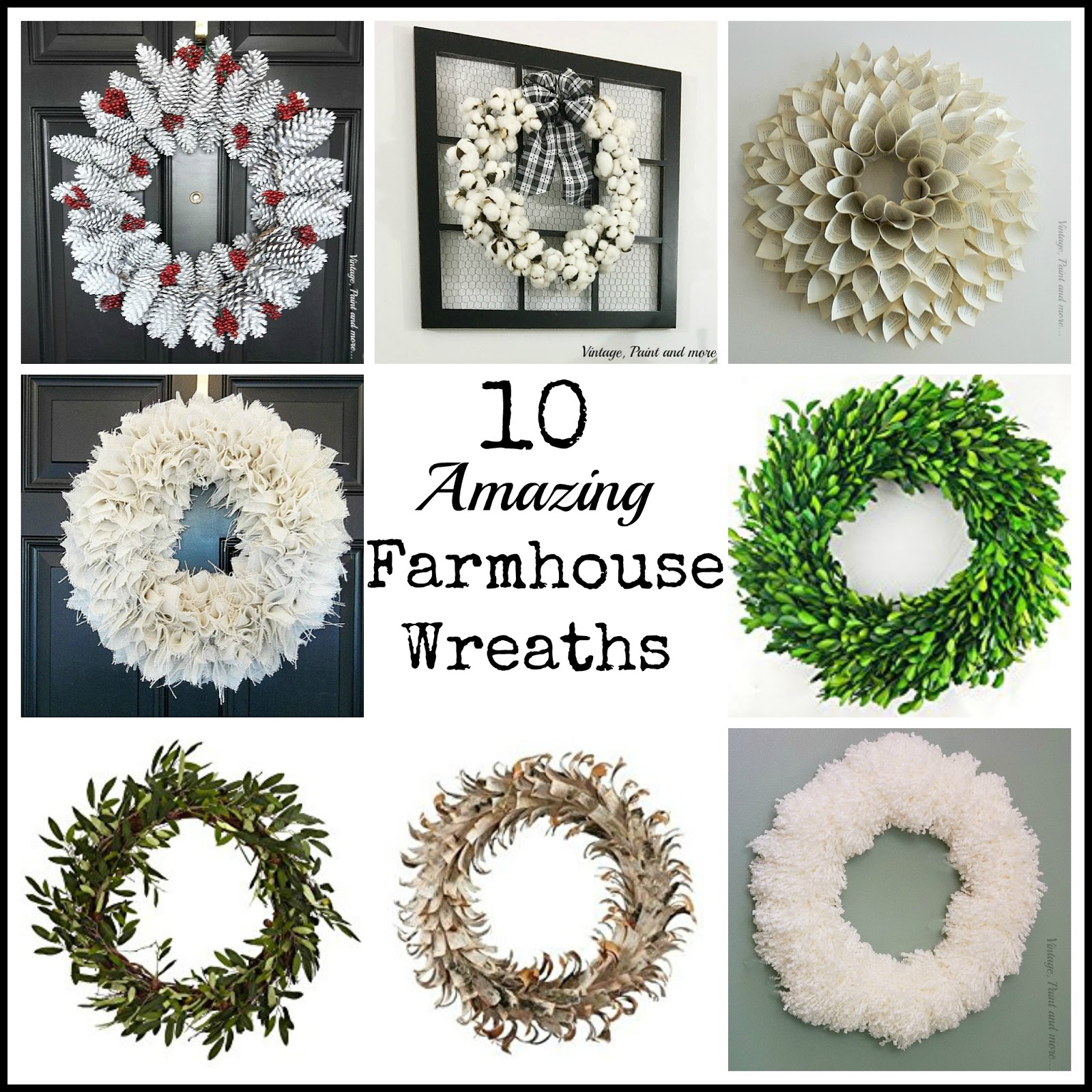 Vintage, Paint and more... a roundup of some amazing wreaths, some