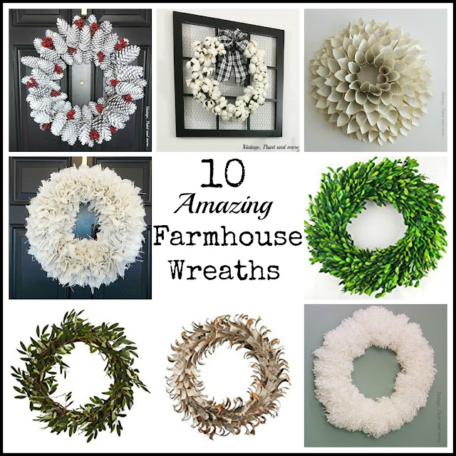 Vintage, Paint and more... a roundup of some amazing wreaths, some with tutorials to diy your own