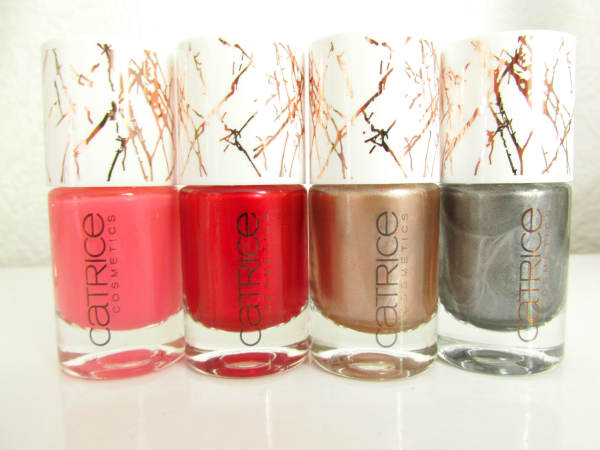 Catrice Metallure Ultimate Nail Laquers alluring pink, alluring red, metalight, metalfusion