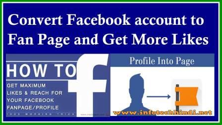 Convert Facebook account to Fan Page