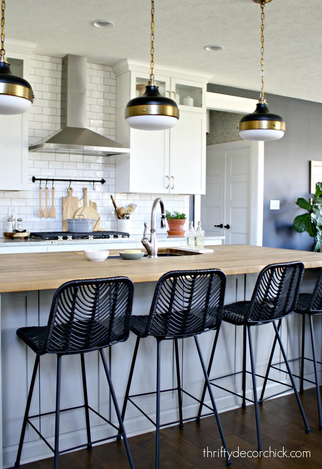 Black modern counter stools white kitchen