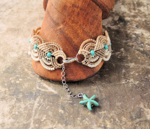 Beachy macrame bracelet by Sherri Stokey of Knot Just Macrame.