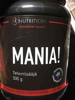 M-nutrition, mania, tehonlisääjä, buusteri, väsymys pois, jaksaa jaksaa, sportsheavy