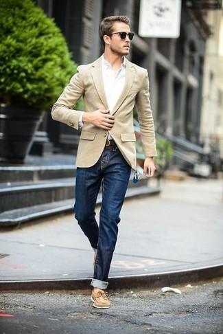 Blue Jeans, White Shirts, Beige Blazers