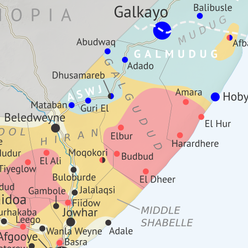 Who controls Somalia? Map (2018). With states, regions, and territorial control. Best Somalia control map online, thoroughly researched and detailed but concise. Shows territorial control by Federal Government of Somalia (FGS), Al Shabaab, so-called Islamic State (ISIS/ISIL), separatist Somaliland, and autonomous states Puntland, Galmudug, Khatumo, and the ASWJ Sufi militia. Updated to March 28, 2018. Colorblind accessible.