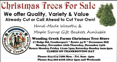 Wending Creek Farms Open 11/16-12/24