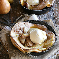Dutch baby pancakes with caramelized pears and labneh yogurt cream.