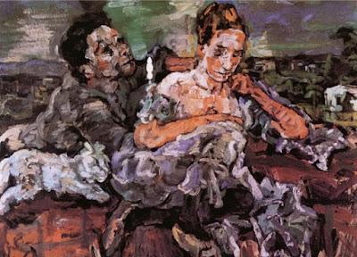 Oskar Kokoschka - Couple d'amoureux au chat,1917.