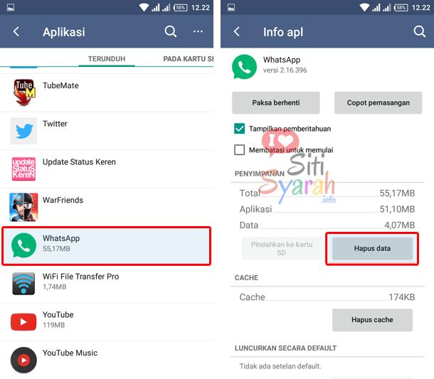 hapus data whatsapp di Android
