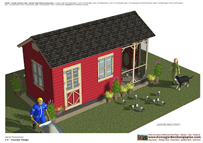 Home garden plans cb200 combo chicken coop garden for Shed and playhouse combo plans
