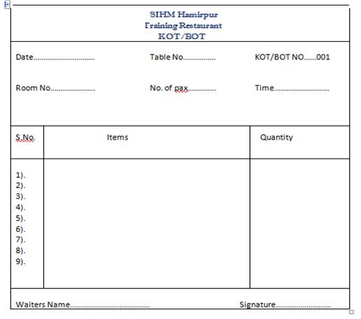 Restaurant Kitchen Order Sheet