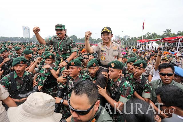 Sinergitas TNI-Polri Terlihat di Pengamanan Reuni Akbar Mujahid 212