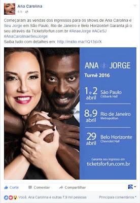 Ana Carolina e Seu Jorge em Brasilia