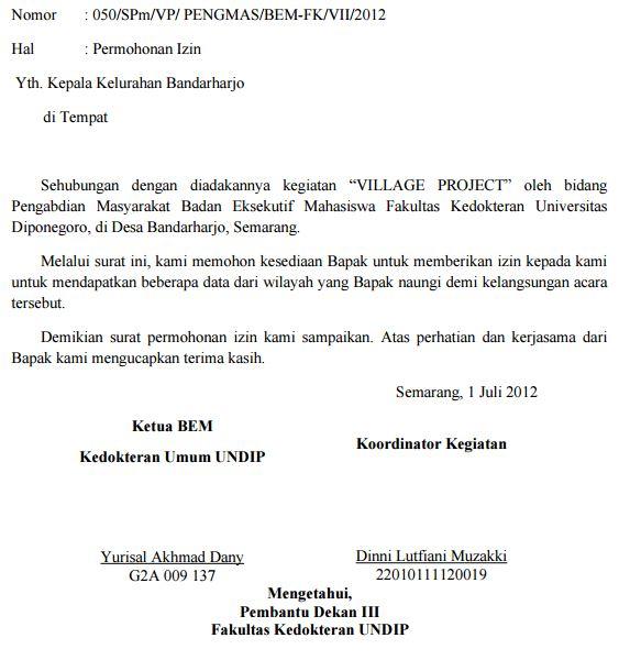 Surat Permohonan data