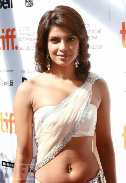 Priyanka Chopra navel in white Saree