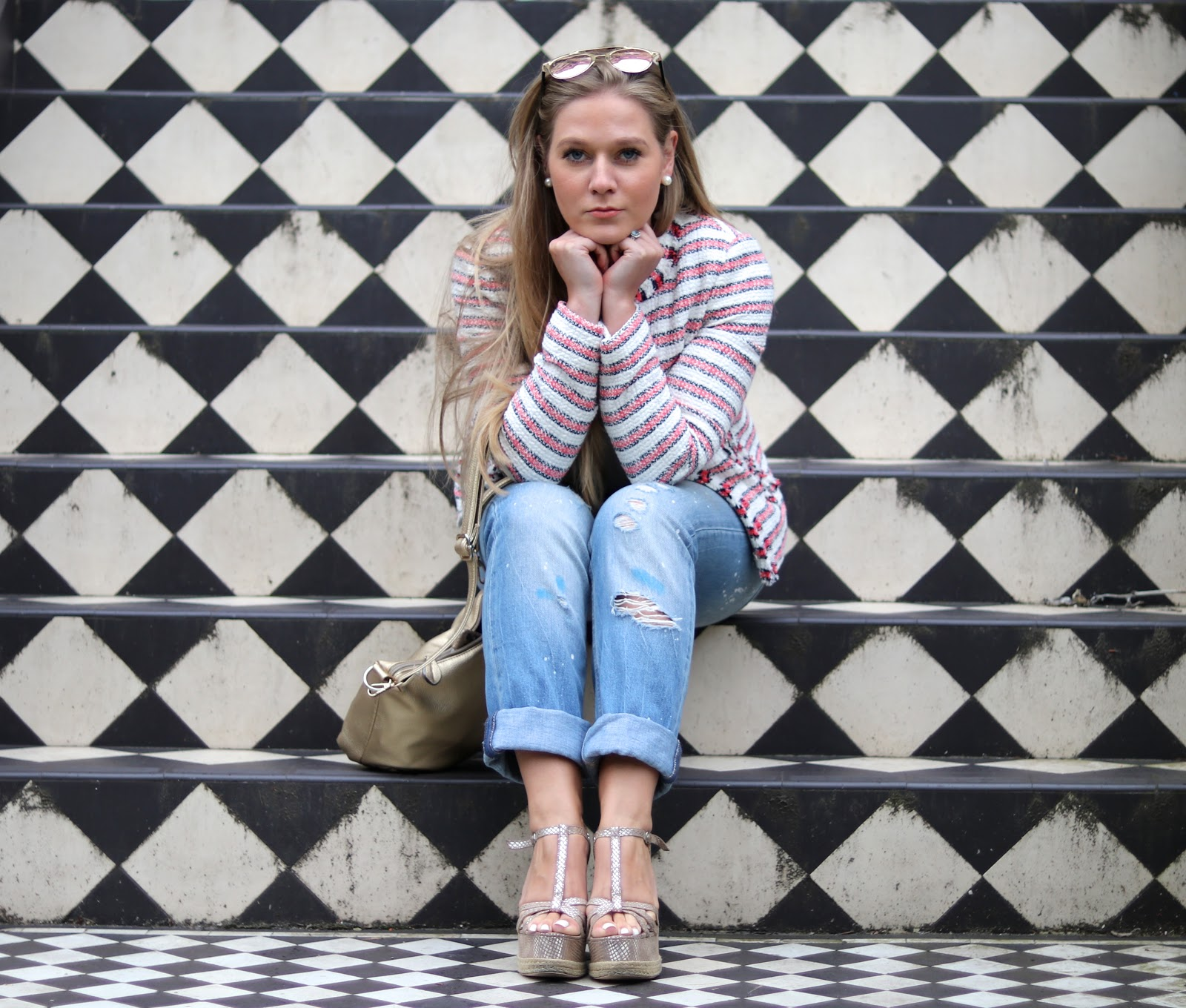 Blonde Girl, Katie Heath wearing L.K.Bennett Tweed Jacket, Jacques Vert white top, Paint splattered jeans, Gold wedges and reflective sunglasses in London for a smart/casual look