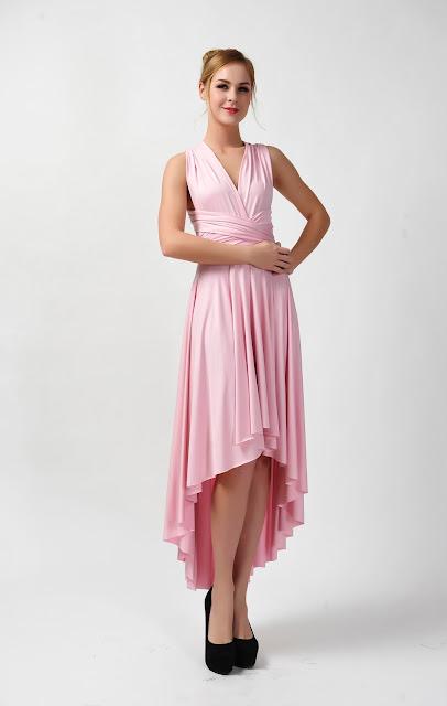 CONVERTIBLE PINK BRIDESMAID DRESS