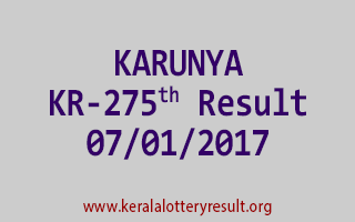 KARUNYA KR 275 Lottery Results 7-1-2017
