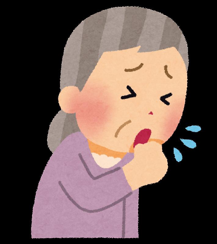咳をしているお婆さんのイラスト   かわいいフリー素材集 ...