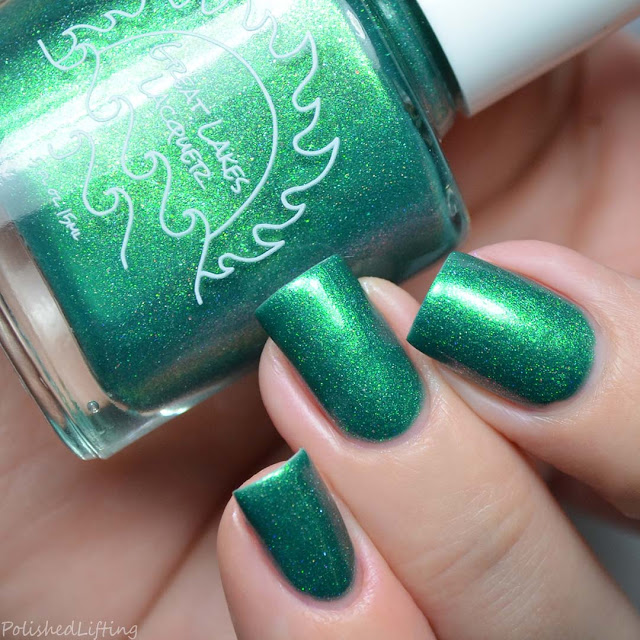 jade nail polish with gold shimmer