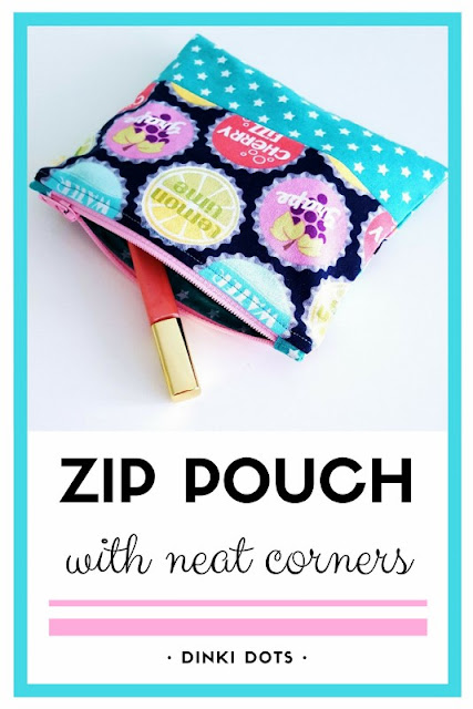 Sew a cute zip pouch with neat corners, perfect for make-up.