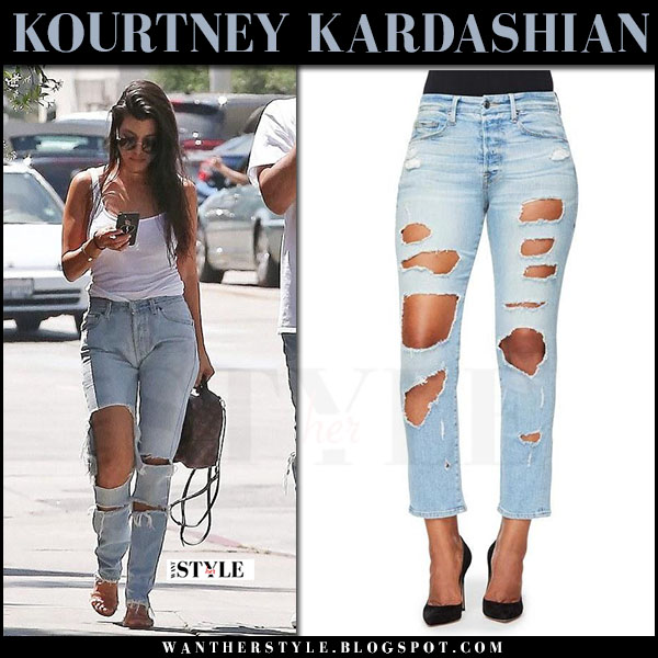 Kourtney Kardashian in ripped shredded jeans good american what she wore may 2 2017 celebrity style