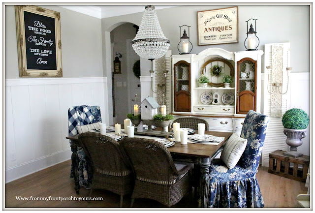 French Country Farmhouse-Dining Room-Mia Chandelier-Potter Barn-Floral Slip Cover-Parson Chairs-Blue and White-Buffalo Check-Vinateg Style-From My Front Porch To Yours