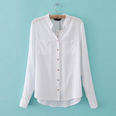 Baju kemeja putih polos wanita import korea online