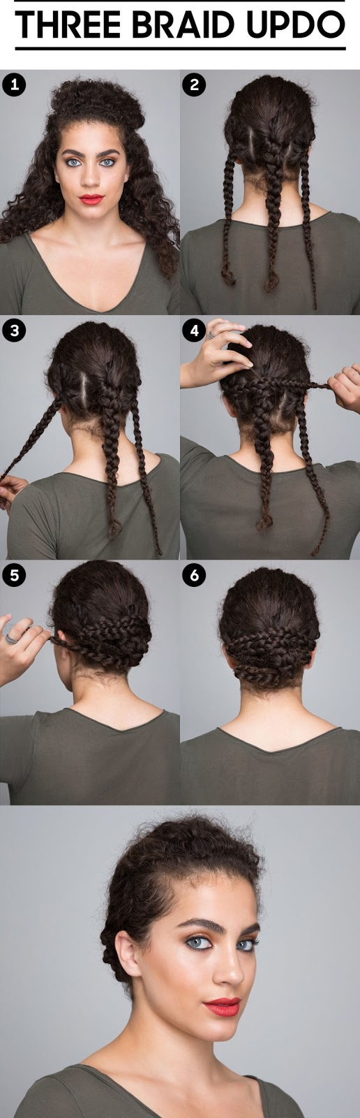 Three braid updo for curly hair