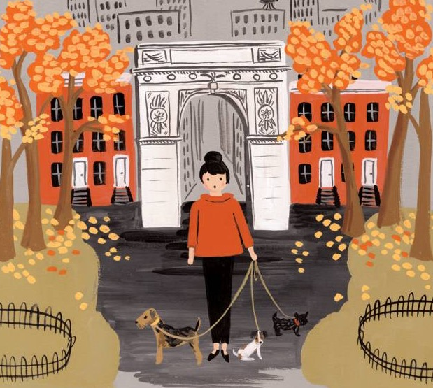 rifle paper co anna bond autumn lady walking her dogs in central park new york ravacholle lifestyle blog anna bond