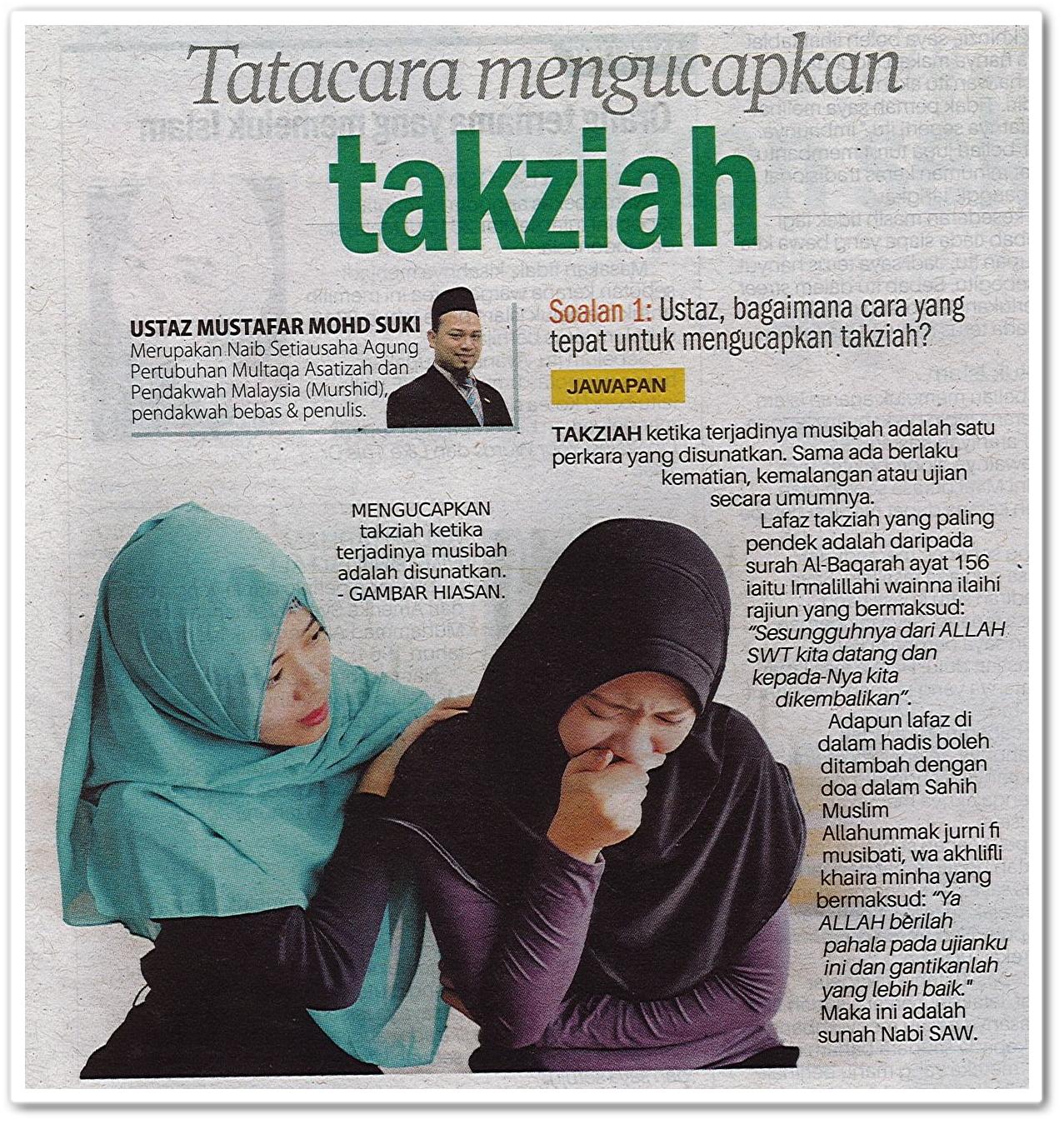 Tatacara mengucapkan takziah - Keratan akhbar Sinar Harian 8 Mac 2019