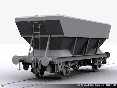 Fastline Simulation - HEA Hopper: Progress render of the HEA Hopper for RailWorks Train Simulator 2012. The wagon represents one of the early wagons built as an HBA with a central access ladder and four footsteps after it has been converted to bruninghaus suspension.