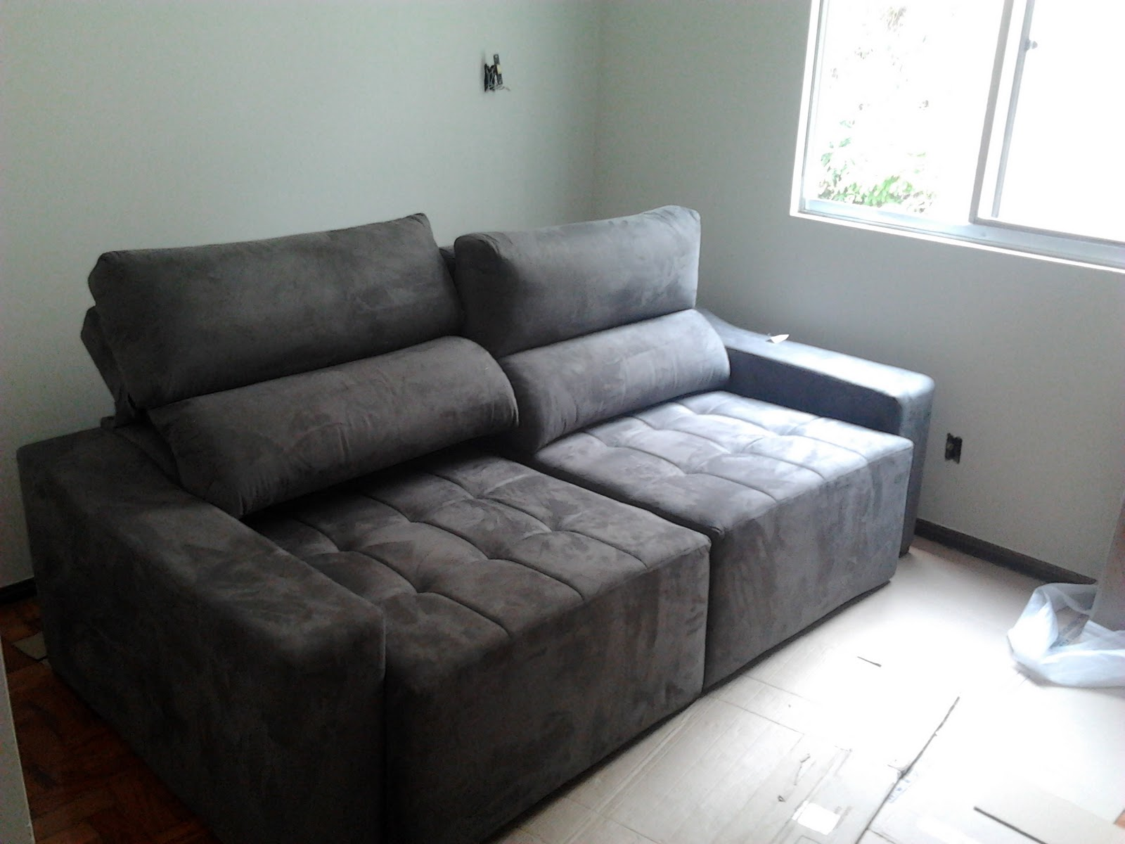 esse sofa ta bom demais beds at dreams nosso apÊ em reforma sofá novo na casa