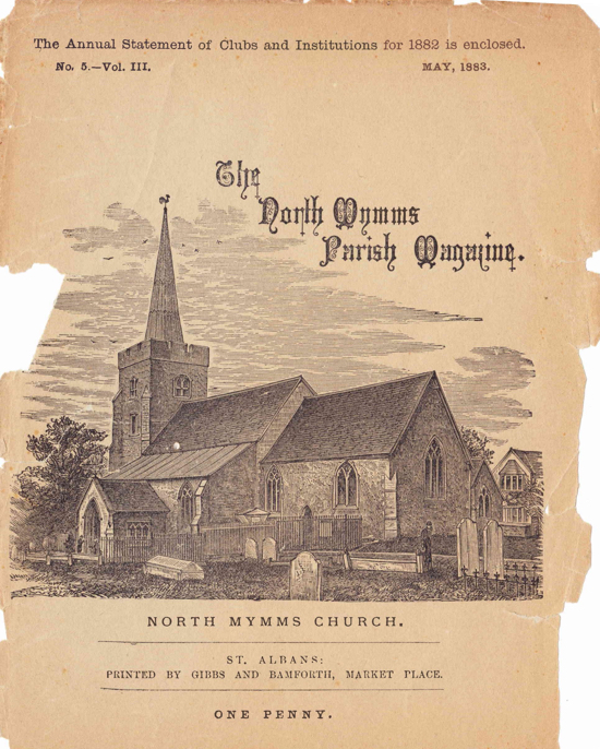 Scan of the cover of the St Mary's Church parish magazine for May 1883. Image from The Peter Miller Collection