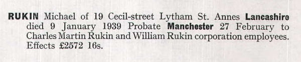 Notice of the Will of Michael Rukin.